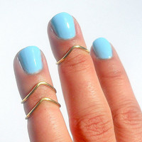 Set of 3 Gold Chevron Above The Knuckle Ring - Gold Chevron Knuckle Rings - Set of 3 by Tiny Box -