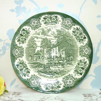 Green and White Wall Plaque or Plate, Horse and Hound Scene,  Dinner Plate, English Ironstone, Transferware, English Ceramics, Home Decor