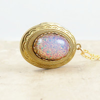 Harlequin Opal Locket Pendant