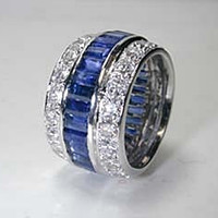 6.84ct Diamond Sapphire Eternity Wedding Ring Platinum JEWELFORME BLUE