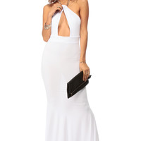 Chain Halter White Mermaid Maxi Dress