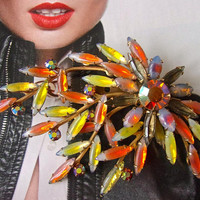 Opalescent Givre Spray Navette Brooch, AB Rhinestone, Orange Yellow Large Vintage