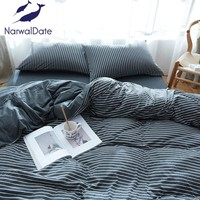 4 Pcs Naked Bedding Set Knitted Cotton Solid Color Full/Queen/King Bed Set Bed Linens Duvet Cover Bed Flat/Fitted Sheet