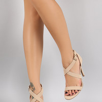 Dollhouse Nubuck Crisscross Open Toe Heel