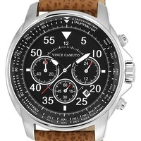Men's Vince Camuto Leather Strap Watch - Tan/ Black