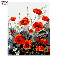 WEEN Flower Pictures Coloring By Numbers On Canvas DIY Wall Arts Oil Digital Painting By Numbers Unique Gift Canvas For Room