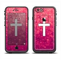 The Vector White Cross over Unfocused Pink Glimmer Apple iPhone 6 LifeProof Fre Case Skin Set