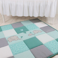 Baby Floor Blanket, Elephant Baby Play Blanket, Baby Play Mat, Mint Green, Teal Blue,  Gray