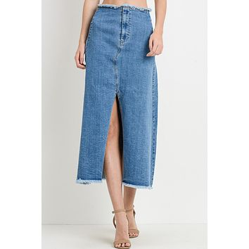 High Waisted Front Slit Frayed Vintage Denim Long Skirt