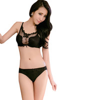 New Women Sexy Bra Set Push Up Transparent Lace Underwire Lingerie Panties Bras Sets Cup B Hot UBY