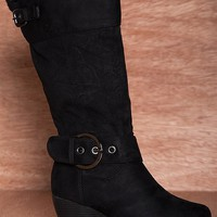 Dbdk Windy Day Buckled Faux Suede Fur Lined Wedge Boots Monicca-1 - Black