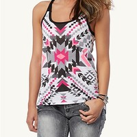 Pink Southwest Knotted Racerback Tank