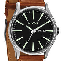 The Sentry Leather Watch in Black & Saddle
