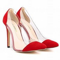 Pointed Classic Patchwork Transparent Shallow Shoes