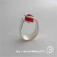 Supermarket: Sterling Ring with Round Crystal Sphere in Tension from LaB  Inspired Sterling    by Laura Berrutti