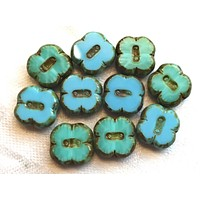 Ten Czech glass clover flower beads, table cut, carved, opaque turquoise blue & turquoise green mix picasso beads, 12mm x 4mm, 743101
