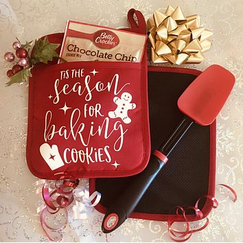 Tis the Season For Baking Cookies Pot Holder with Spatula Christmas Gift Set Red Oven Mitt With Spoon
