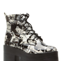 Black Magazine Collage Patent Platform Chunky Sole Ankle Boots