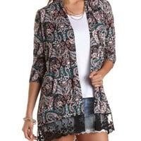 Lace Trim Paisley Print Cardigan by Charlotte Russe