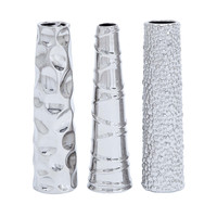 Harvey & Haley Contemporary Ceramic Vase 3 assorted in Silver Finish