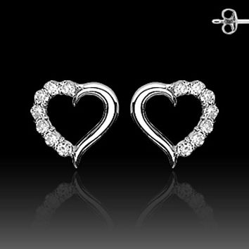 Pair of Stainless Steel STUD EAR WildKlass RingS W/ALL PRONG SET CZ HEART (Sold as a Pair)