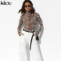 Kliou 2018 autumn winter women full sleeve turtneck Snake skin print bodysuit bodycon female skinny sexy casual rompers playsuit