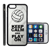 RCGrafix Brand Volleyball Keep Calm Play On Volleyball Player Apple Iphone 6 Plus Protective Cell Phone Case Cover - Fits Apple Iphone 6 Plus