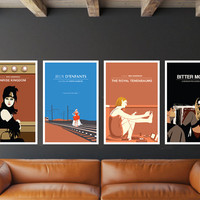 SALE - Set of 4 Movie Prints, Moonrise Kingdom, Love me if you Dare, The Royal Tenenbaums, Bitter Moon.