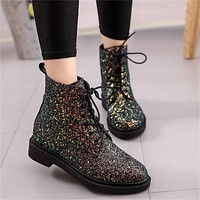 Glitter Lace Up Short Boots