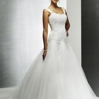Empire A-line Organza Wedding Dress Bridal Gown With Applique And Beading