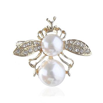 New Arrival Cute Bee Shaped Imitation Pearl Alloy Brooch