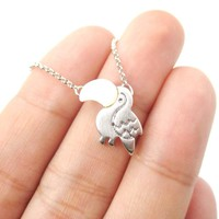 Toucan Bird Shaped Animal Themed Pendant Necklace in Silver | DOTOLY