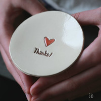 Love Ceramic Ring Dish Thanks Pottery Bridal Plate Red Heart Jewelry Dish
