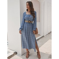 Captivating Blue Maxi Dress Flower Print Square Collar For Camping