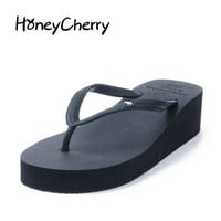 2017 Summer Sandals Korean Fashion Chunky Solid Flip Flops And The Wind Pinch Slope With Fashionista Slippers