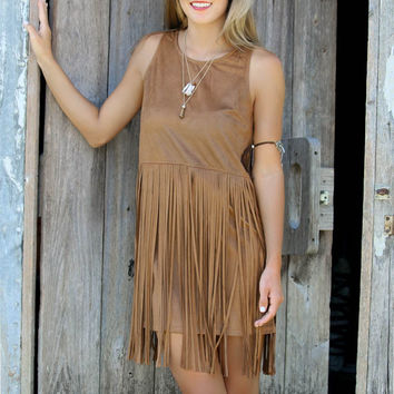 Suede Sleeveless Dress With Tassel