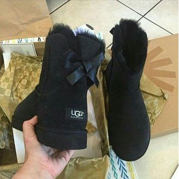 UGG new style plush snow boots for autumn and winter, classic back tie with bow, medium tube solid color cowhide shoes for men and women, cotton shoes