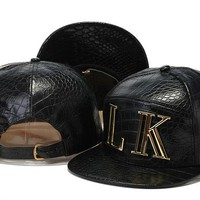 Crocodile Grain hat letters hip-hop hat LK snapback PU leather Casual Outdoor baseball cap