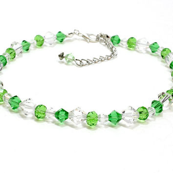 Crystal Dog Collar. Green and Clear Crystal Pet Jewelry. Crystal Cat Collar. Bicone Crystal Collar for Small Dogs and Cats. Fancy Collars
