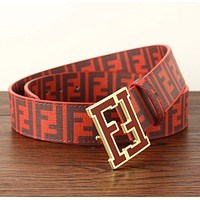 Fendi Trending Hot Sale Women Men F Mark Belt Print Belt B104518-1 Red