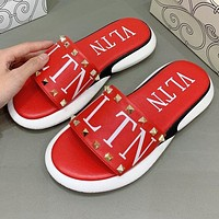 Valentino Hot Sale Women Casual Rivet Thick Soles Slippers Sandals Shoes
