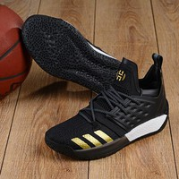 KUYOU A155 Adidas James Harden Vol.2 Boost Training Basketball Shoes Black Gold
