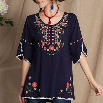 Retro Mexican Embroidered Blouses Women Summer Half Sleeve Loose Casual Vintage Boho Tunic Tops Floral Shirts Women