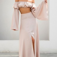 Lady In Waiting Apricot A Line Front Slit Maxi Skirt Crop Top Long Sleeve Two Piece Set