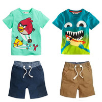 2016 New kid apparel Boys Summer Clothing Set Baby Boys Set Suit Cotton T-shirt+ Short Kids costumes Free Shipping