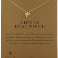 """Dogeared Gold Plated Sterling Silver Life Is Beautiful Reminder Necklace, 18"""""""