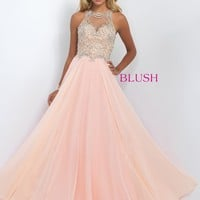 Blush 11005 Beautiful Jeweled Illusion Prom Dress