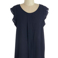 ModCloth Nautical Mid-length Cap Sleeves Always Approachable Top in Navy