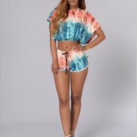 Tie Dye Hooded Crop Top And Short Two Piece Set 12649