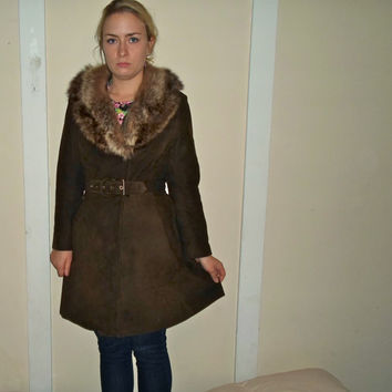 VTG Brown Soft Leather Fur Trim Collar Belted Long Coat